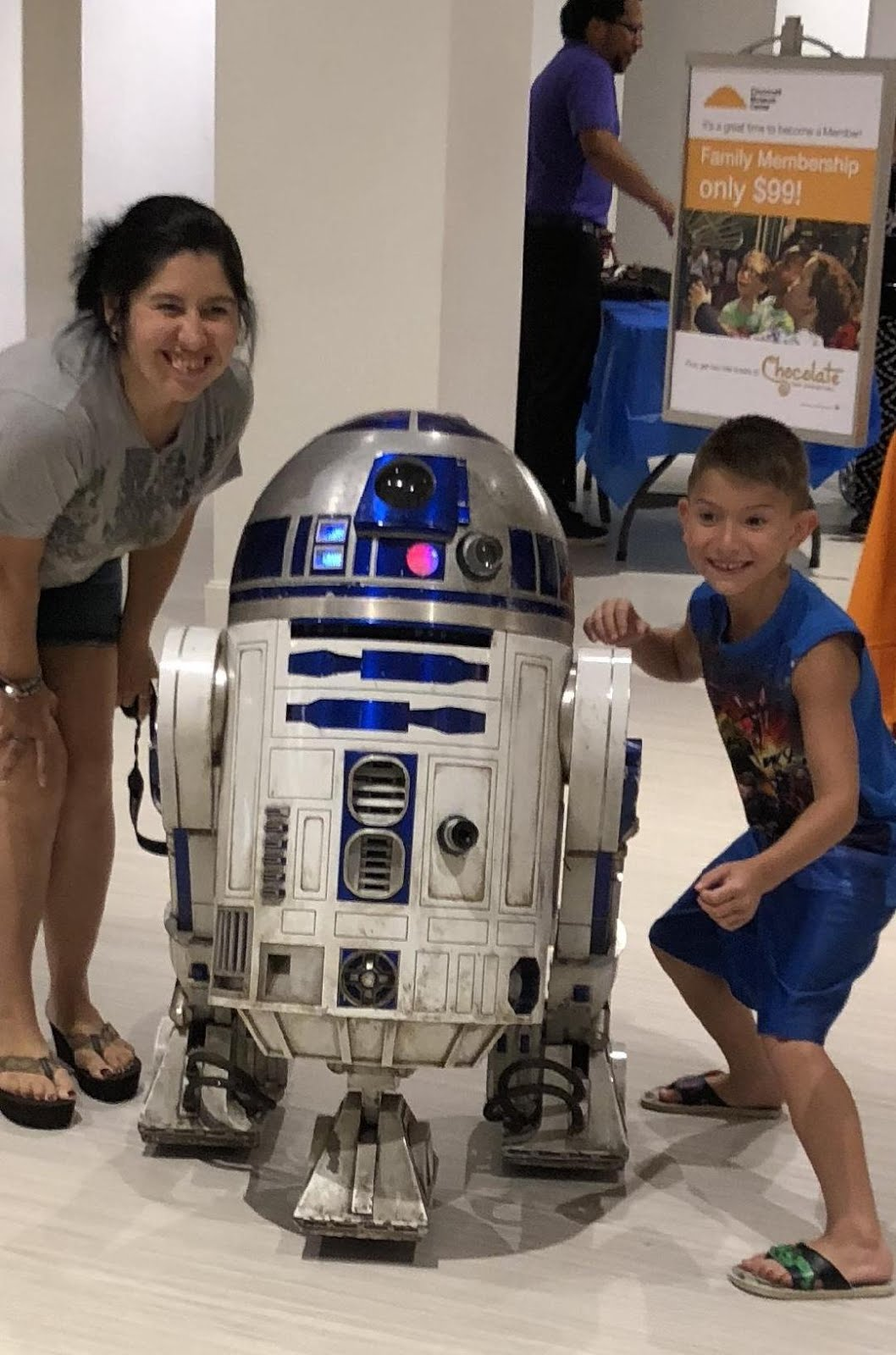 My sister, her son and R2-D2
