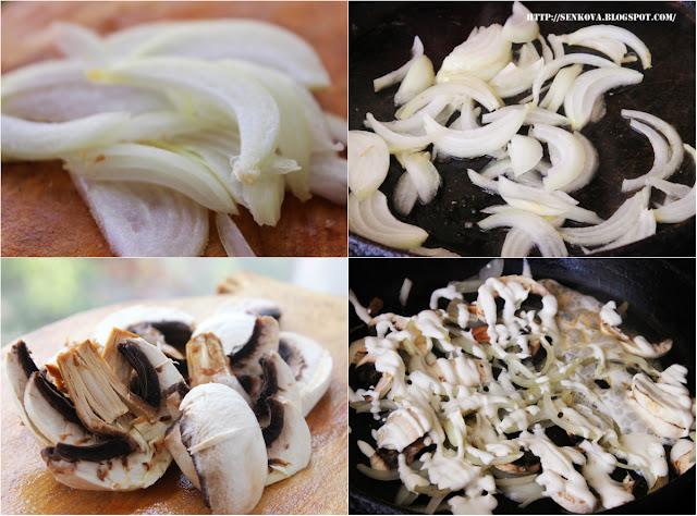 Печень, тушеная в сметане с грибами