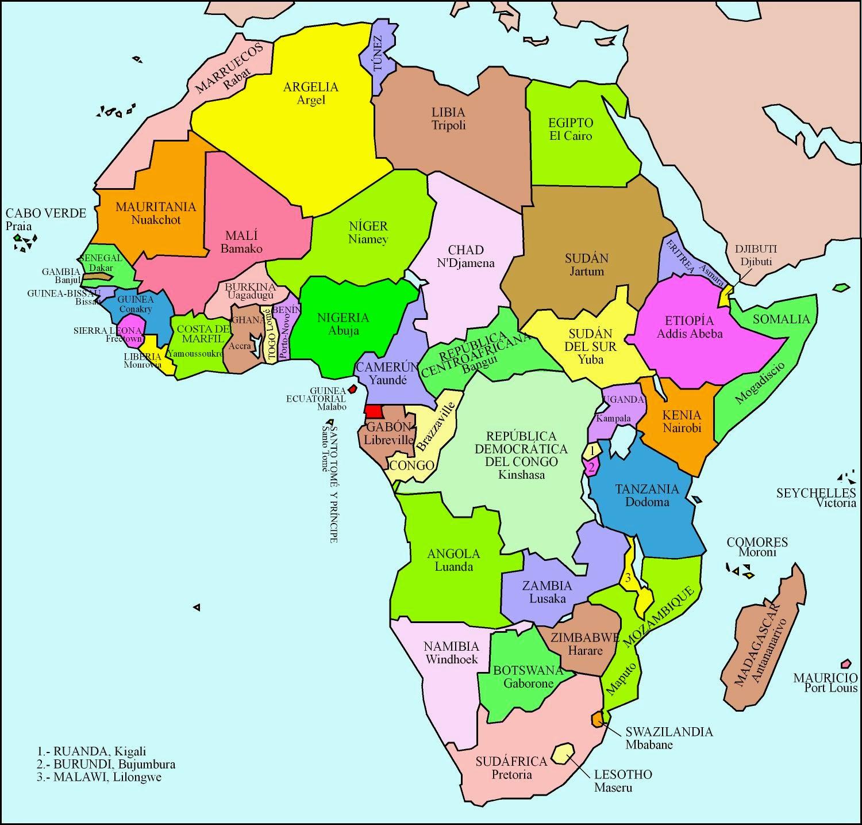 Capitales frica Mapa