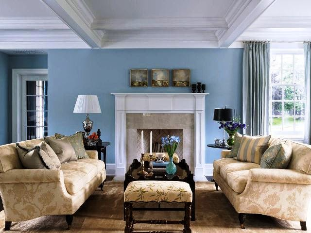 blue paint colors for living room walls