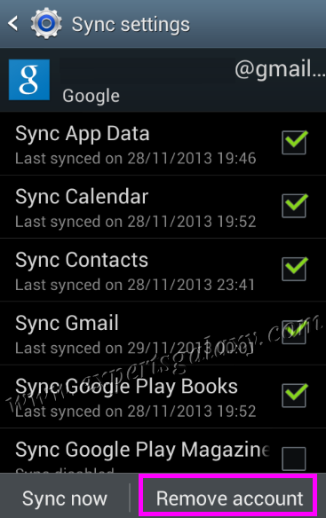 Google Account Synchronisation Settings