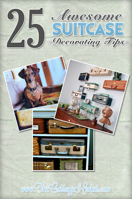 Check out these awesome tips for decorating with vintage suitcases.