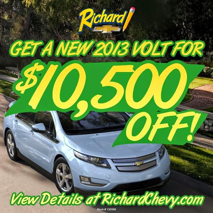 $10,500 OFF a 2013 Chevrolet Volt Electric Car at Richard Chevrolet