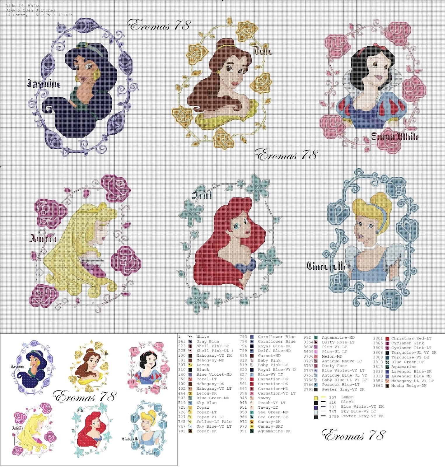 Punto de cruz y otras manualidades: Princesas disney a punto de cruz