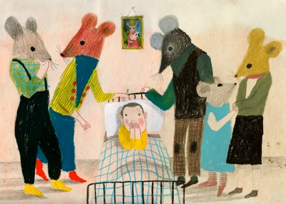 illustration by Violeta Lopiz of a sick kid in bed surrounded by mice