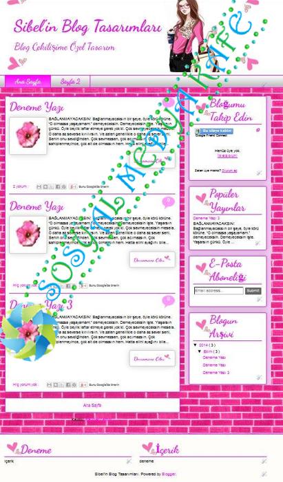 blogger şablon tasarımı pembe kalpli kız blog tema tasarımı