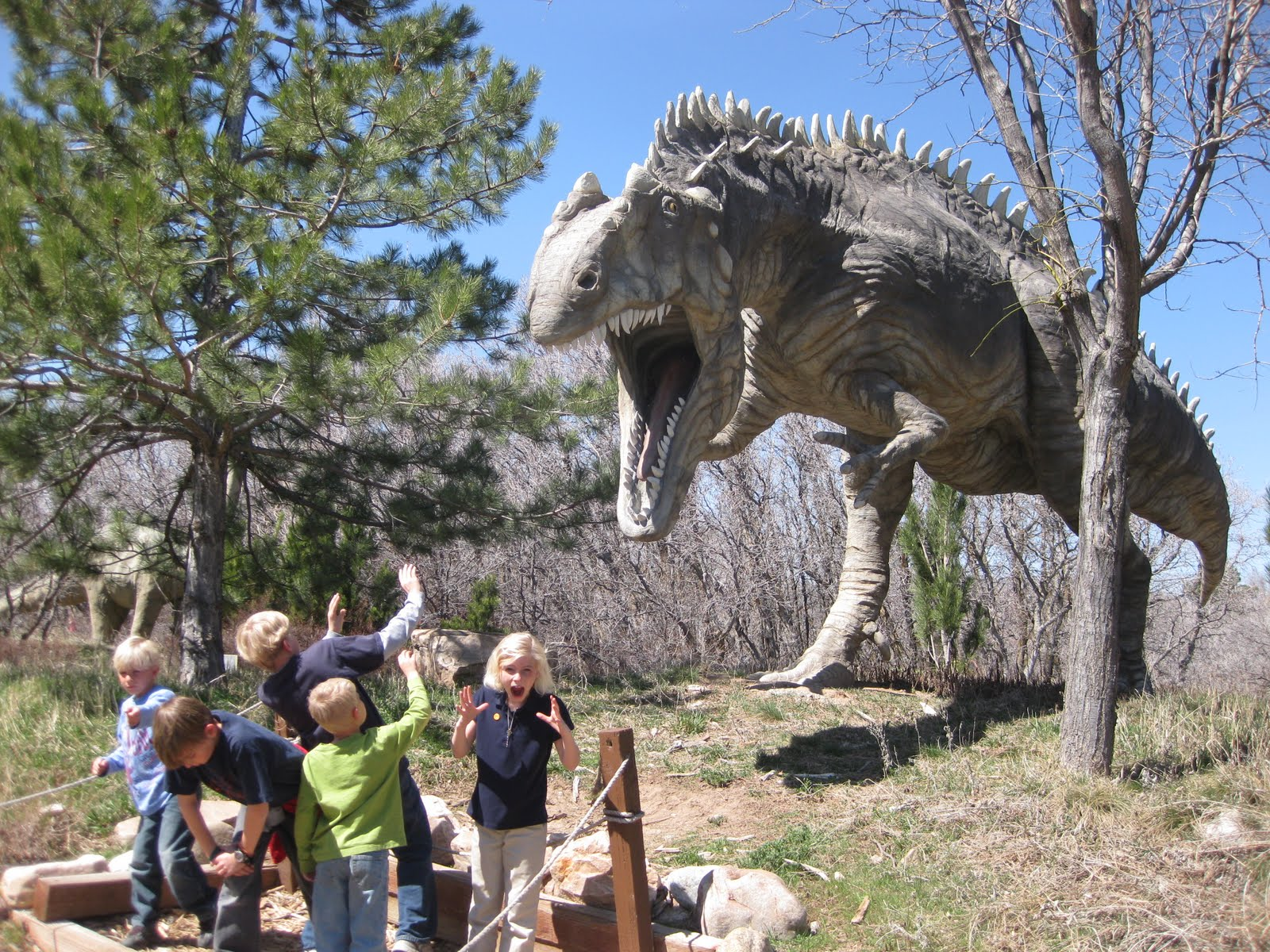 kids loved pretending the huge dinosaur replicas were coming to lifeDinosaurs In Real Life