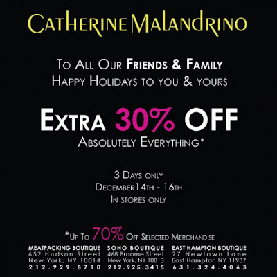 Catherine Malandrino offers 30% off everything in stores, until 12/16! @MalandrinoBuzz featured on shopalicious.com