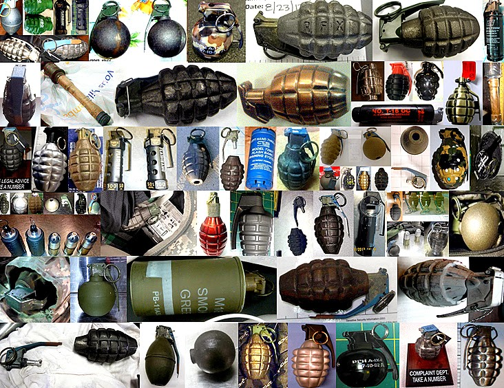 Just A Few of the 136 Inert/Novelty/Replica Grenades Discovered in 2013
