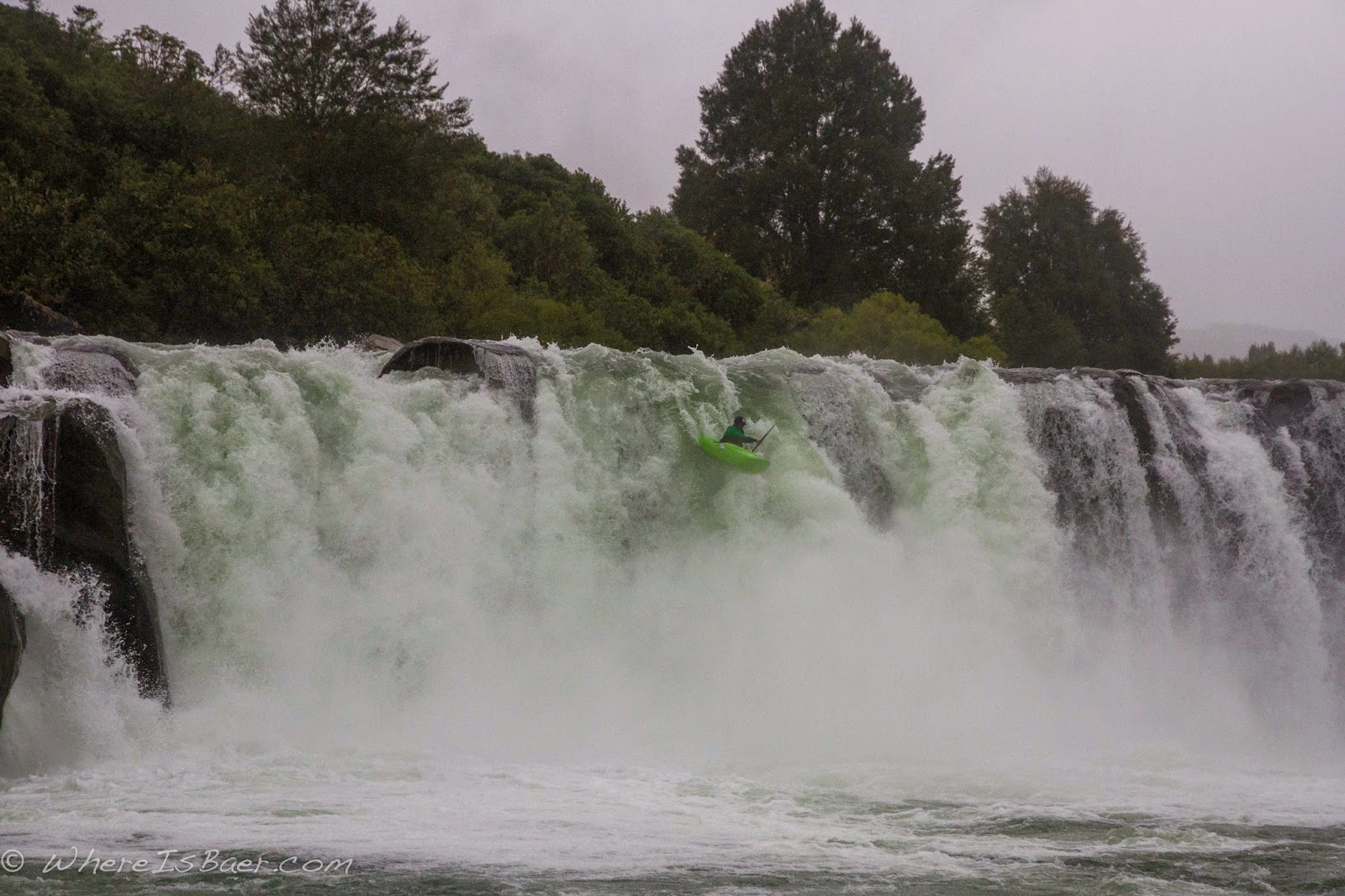 Jeff Colgrove dialing the sub 20 line, chris Baer, New Zealand, Maruia Falls, kayaker