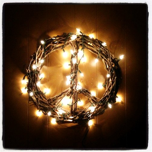 DIY Tree branch peace sign wreath