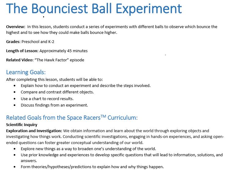 space racers educators kit  sample lesson plan