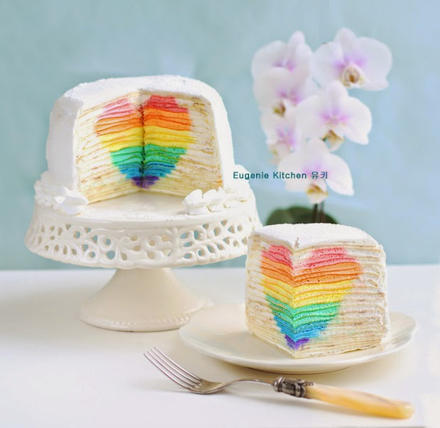Eugenie Kitchen, rainbow heart mille crepe cake