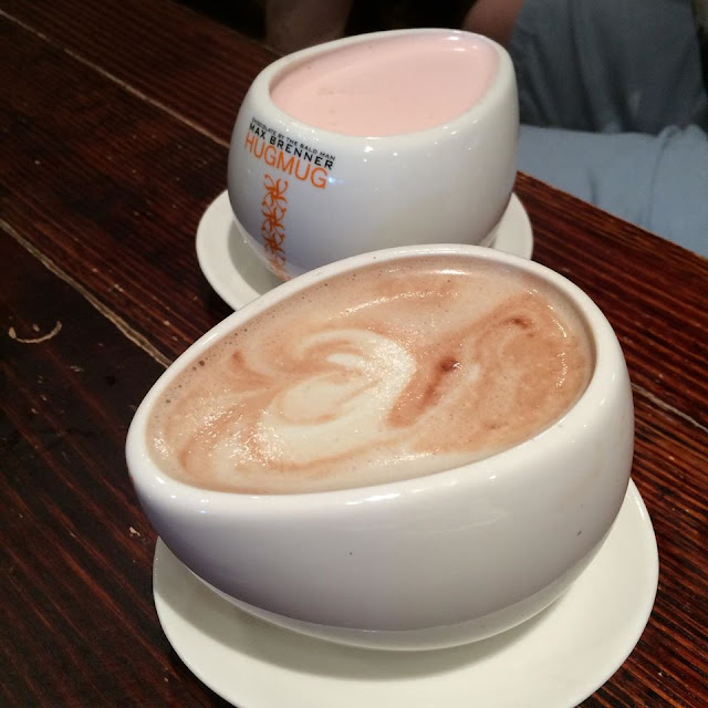 Max Brenner's Luscious Liquorice and Strawberry Fields Cheesecake limited edition hot chocolate drinks.