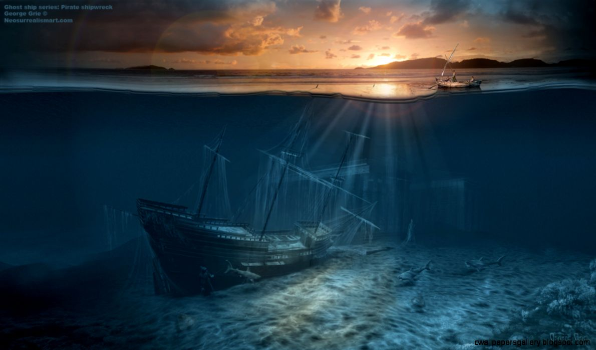 Ghost ship series Pirate shipwreck surreal art print poster