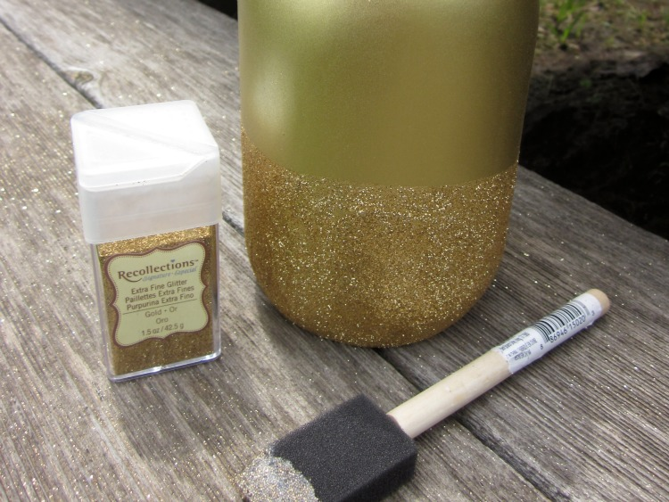 DIY Gold Glitter mason jars