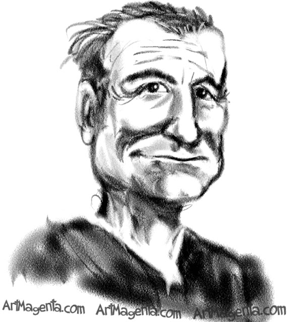 Robin Williams caricature cartoon. Portrait drawing by caricaturist Artmagenta