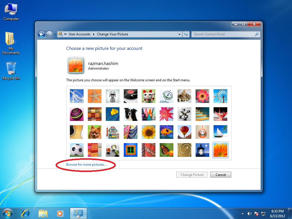 Windows 7 Lesson Change Account Picture Windows 7
