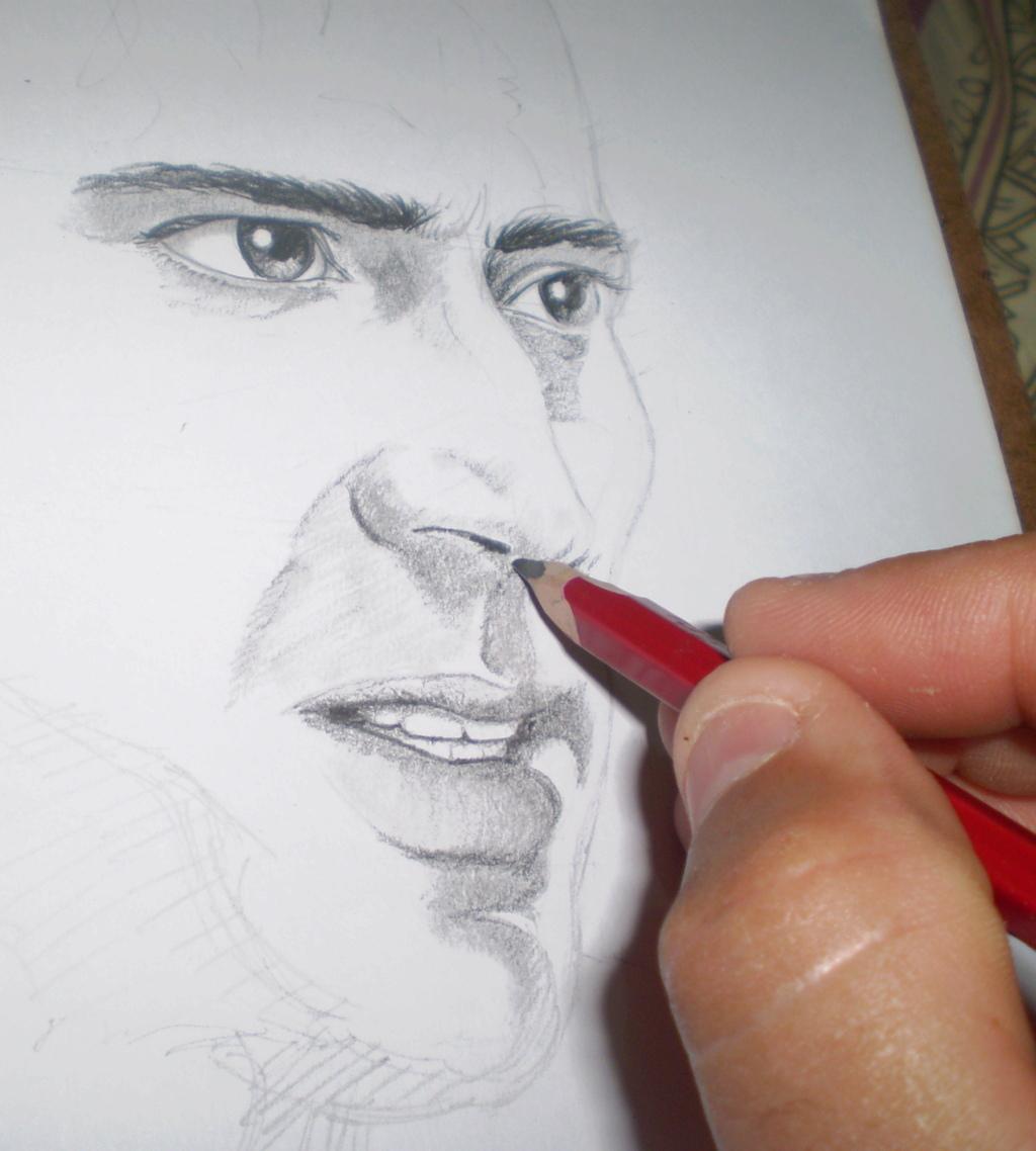Desenho a Lápis Grafite 6B - Rosto Masculino - Nicolas Cage