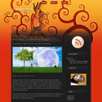 Lonely Parrot Blogger Template. blogger template from wordpress theme. girly blogger template