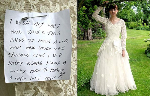 Wedding Dress With A Heart Wrenching Handwritten Note Attached To It