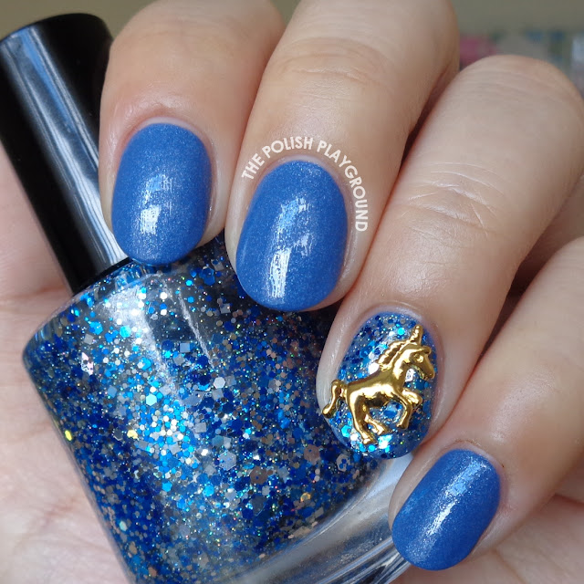 Blue Shimmer and Gold Unicorn Stud Nail Art