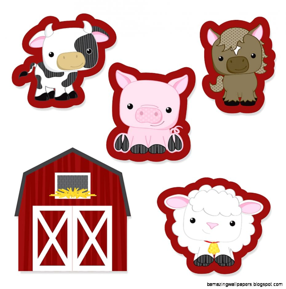 Farm Animals   Shaped Party Paper Cut Outs