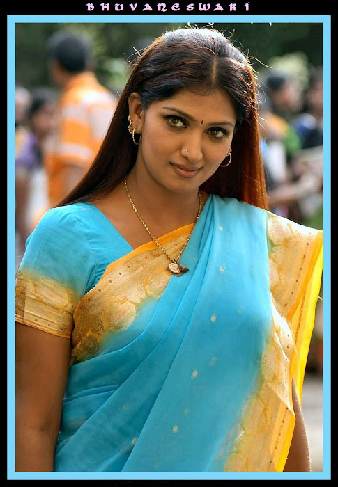 bhuvaneswari in blue saree
