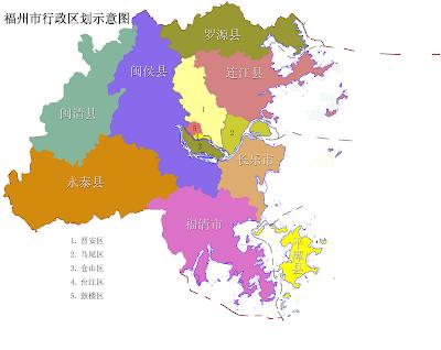 Fuzhou Map City of China