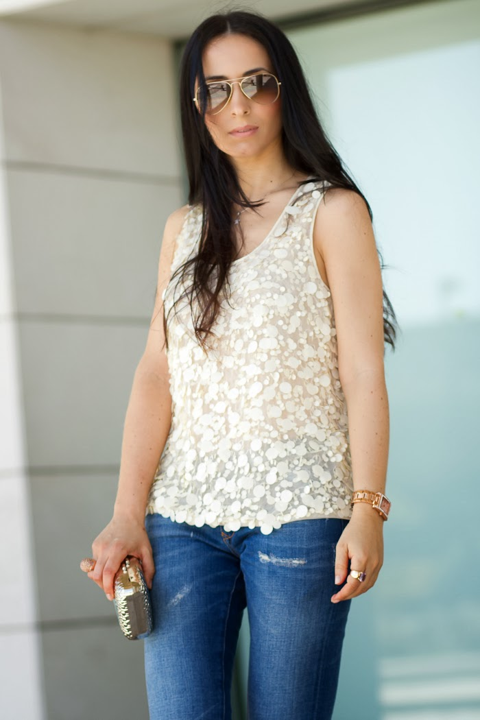 Paillettes Top and jeans