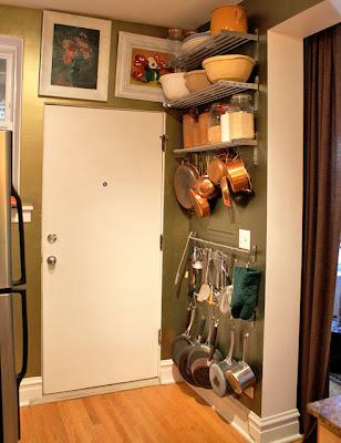Kitchen behind the door storage small space