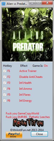 Alien vs Predator Steam DX11 Trainer +4  MrAntiFun