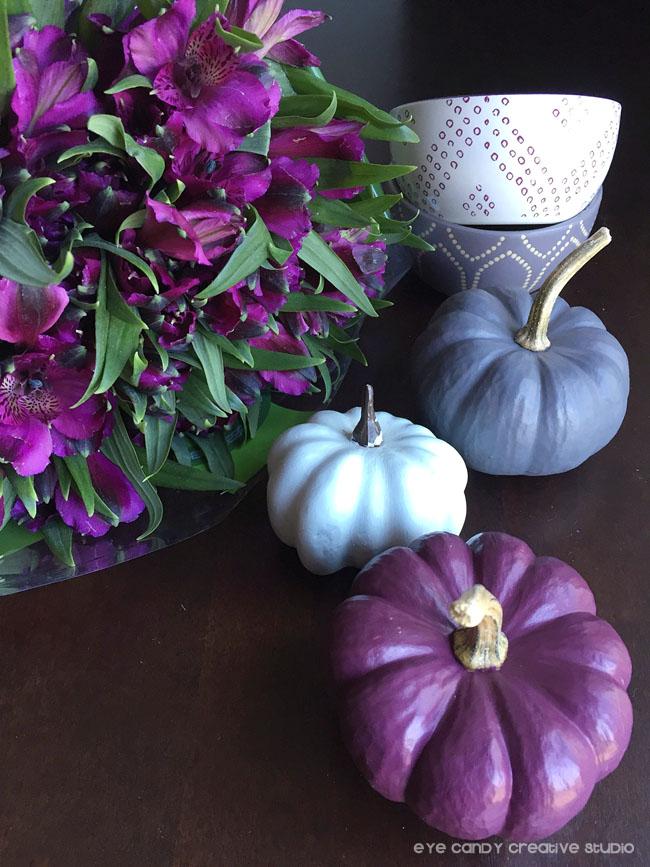 plum flowers, table top ideas, painted pumpkins, thanksgiving ideas