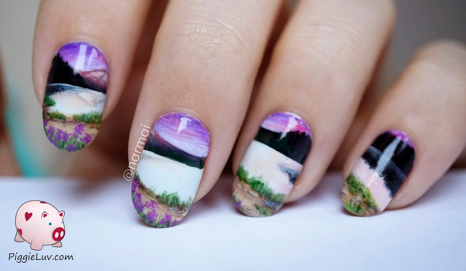 Piggieluv Wide Open Landscape Nail Art Miniature Painting