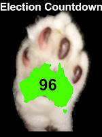Pic of Mr Bumpy's paw, with Australia outline map inside.  Text: Election countdown 96