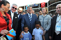 President Abdullah Gul at the construction field of a Turkish school, Congo