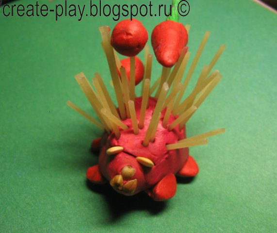 hedgehog from clay and pasta