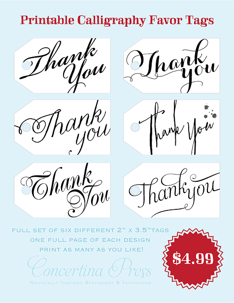 Diy Printable Wedding Favor Tags : ... : DIY Printable Calligraphy Thank You Wedding Favor or Gift Tags