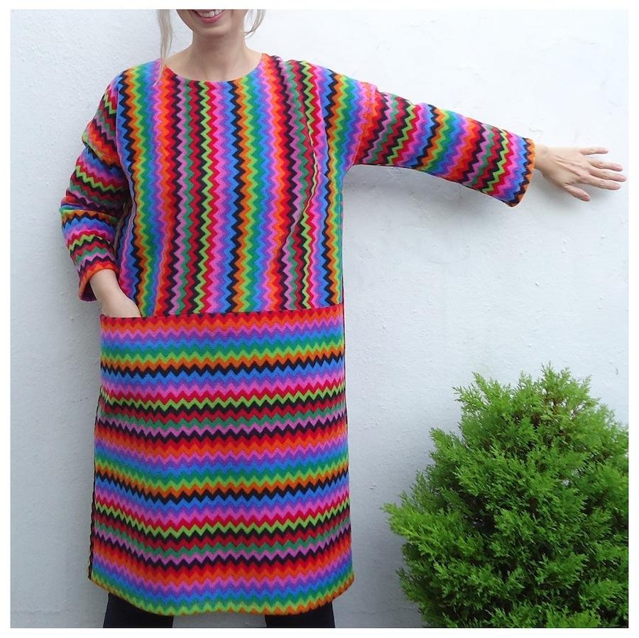 A very bright fleece Art Teacher Dress