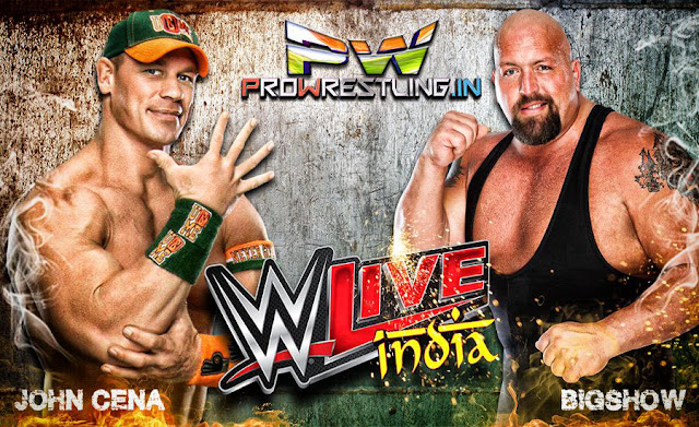 wwe india january live event tour 2016 match card, john cena vs bigshow, rusev, dolph ziggler, demon king sheamus result video music delhi indira gandhi stadium full result video