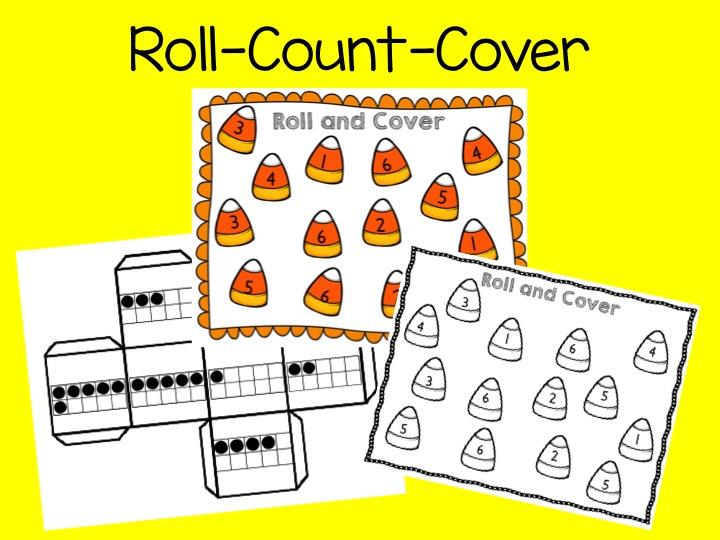 roll count cover,, ten frames, halloween math
