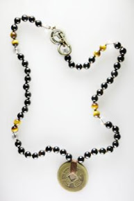 Onyx with Golden Tiger Eye & Coins Necklace (Enrgy Muse Replika)