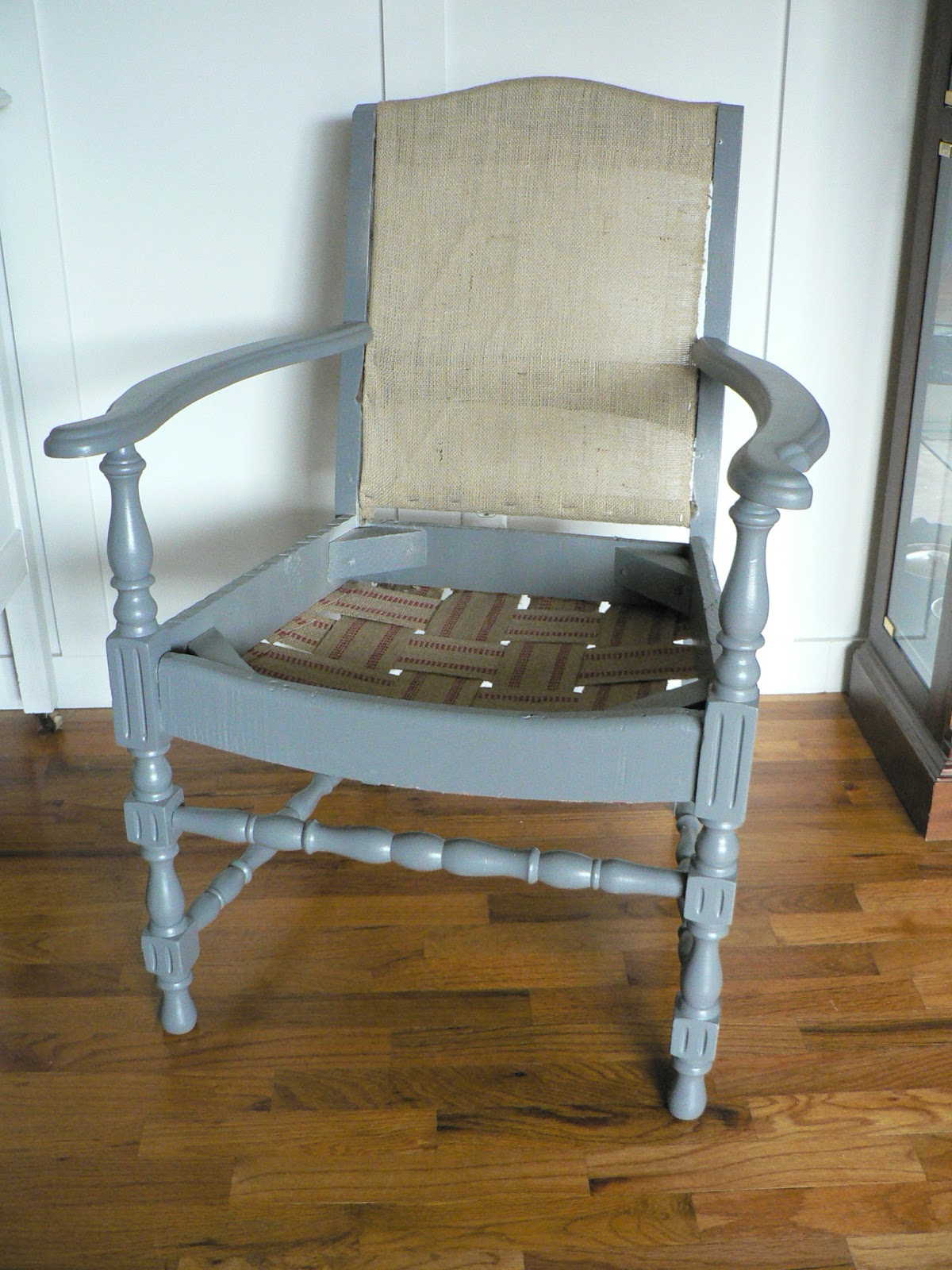 For the love of it antique chevron reupholstered arm chair for Reupholstered chairs for sale