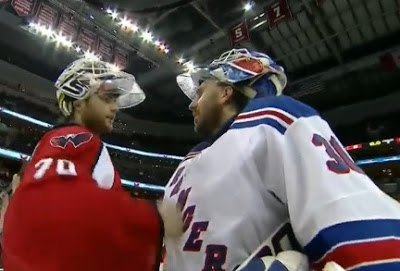 Brandon Holtby and Henrik Lundqvist shake hands after game 7