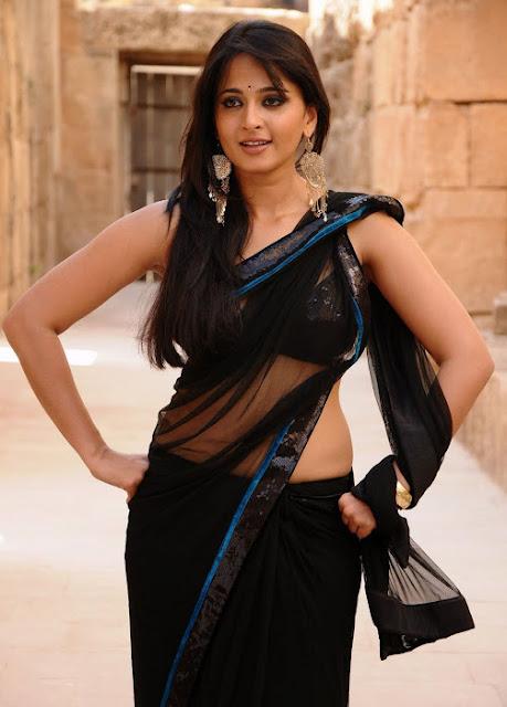 Anushka Shetty Spicy Stills In Black Saree 5