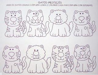 Atividades para Educação Infantil - Unir os gatos iguais