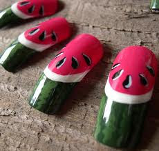 watermelon nails designs