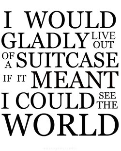 small house quote about living out of a suitcase and traveling the world