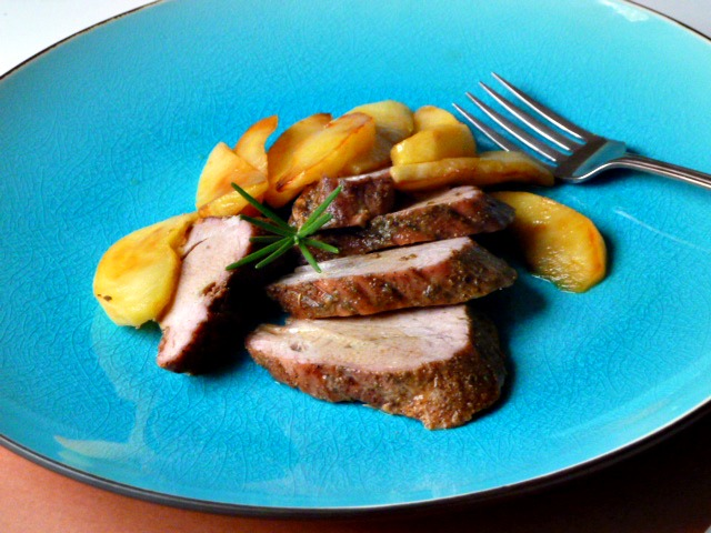 ... Tale of Two Loves: Roasted Pork Tenderloin with Apples in Cider Sauce