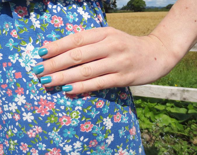 Blue Ditsy Print Maxi Dress Apricot